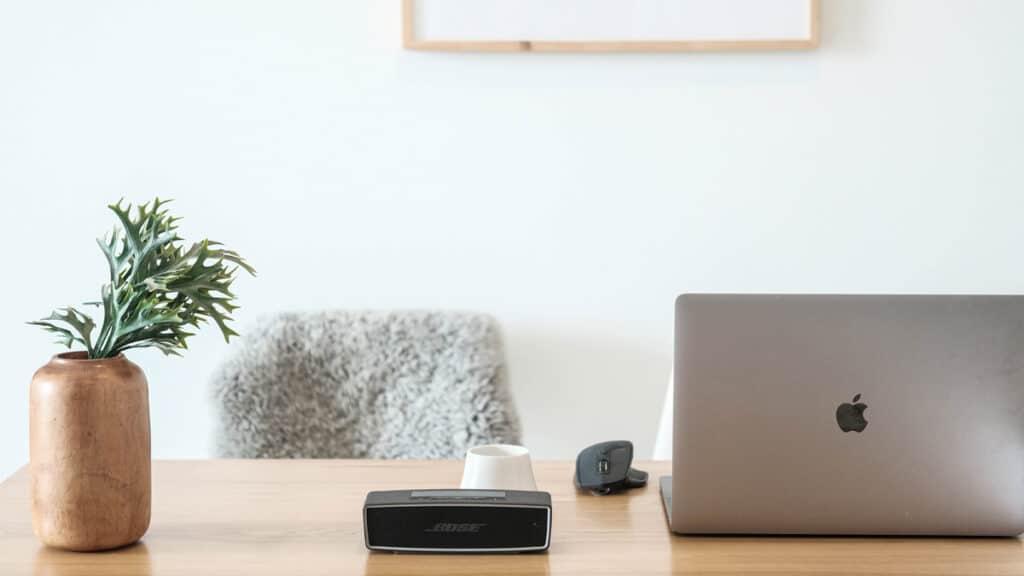 Remote work minimalist desk